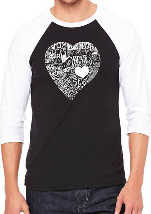 Mens Raglan Baseball Word Art Graphic T-Shirt - Love in 44 Different Languages