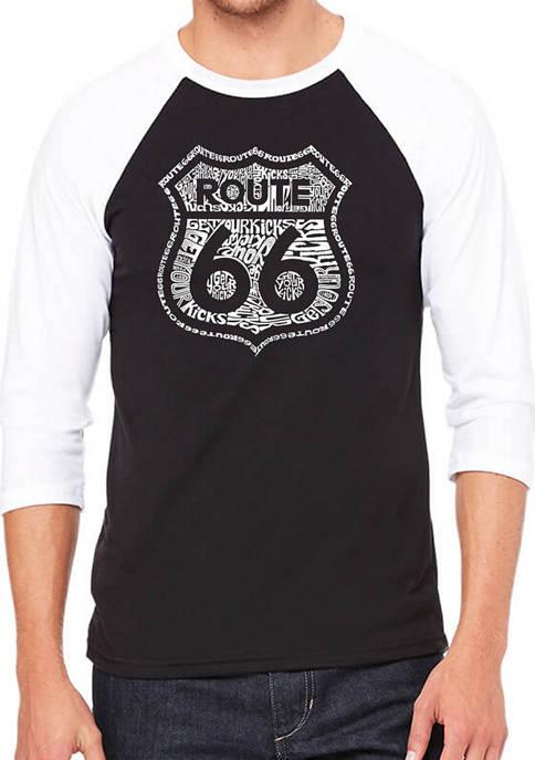 Mens Raglan Baseball Word Art Graphic T-Shirt - Get Your Kicks on Route 66