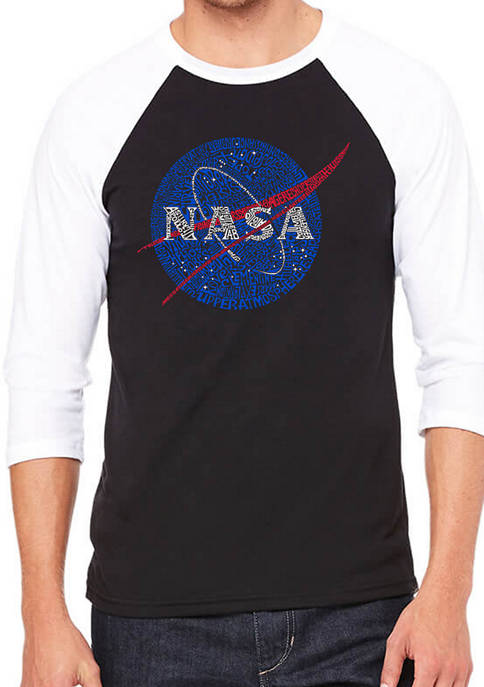 NASA Raglan Baseball Word Art Graphic T-Shirt