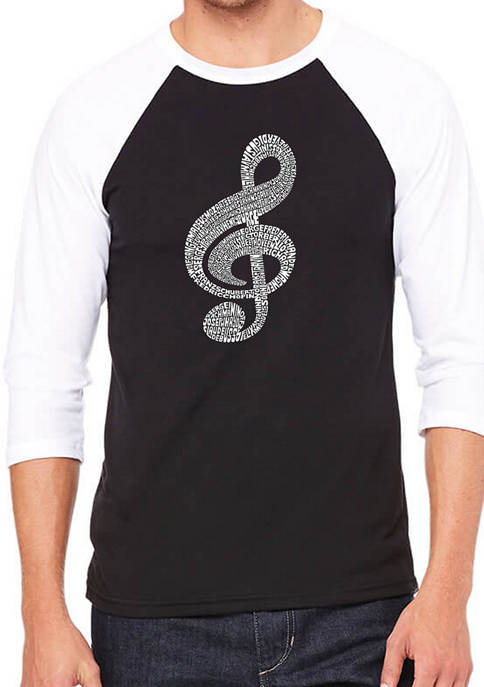 Mens Raglan Baseball Word Art Graphic T-Shirt - Music Note