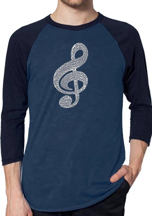 Raglan Baseball Word Art Graphic T-Shirt - Music Note