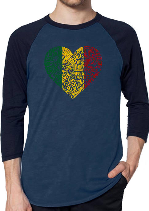 Mens Raglan Baseball Word Art Graphic T-Shirt - One Love Heart