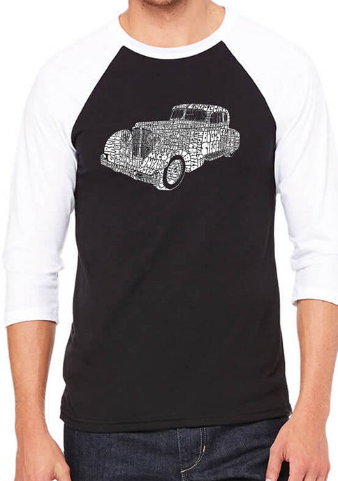 Mens Raglan Baseball Word Art Graphic T-Shirt - Mobsters