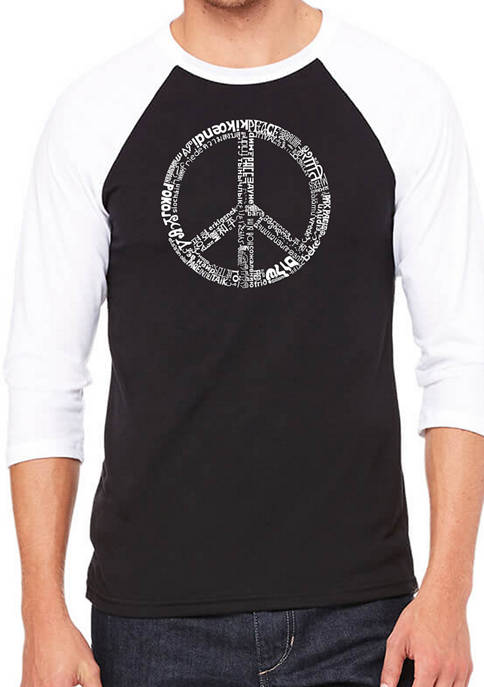 Mens Raglan Baseball Word Art Graphic T-Shirt - Peace in 77 Languages