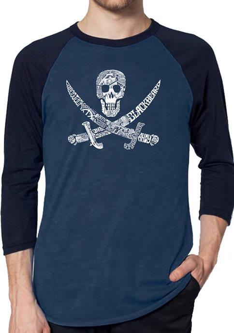 Mens Raglan Baseball Word Art Graphic T-Shirt - Pirate Captains, Ships, and Imagery
