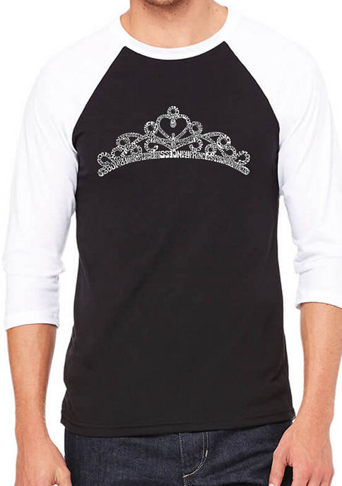 Raglan Baseball Word Art Graphic T-Shirt - Princess Tiara