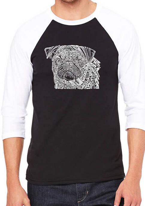 Mens Raglan Baseball Word Art Graphic T-Shirt - Pug Face