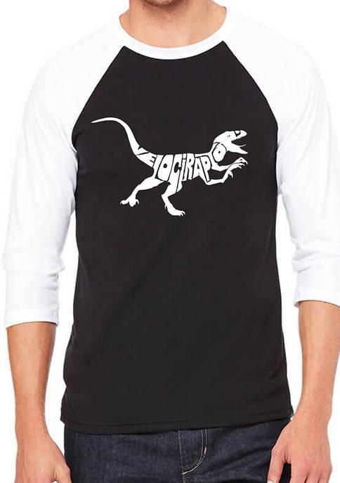 Mens Raglan Baseball Word Art Graphic T-Shirt - Velociraptor