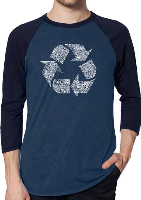 Mens Raglan Baseball Word Art Graphic T-Shirt - 86 Recyclable Products