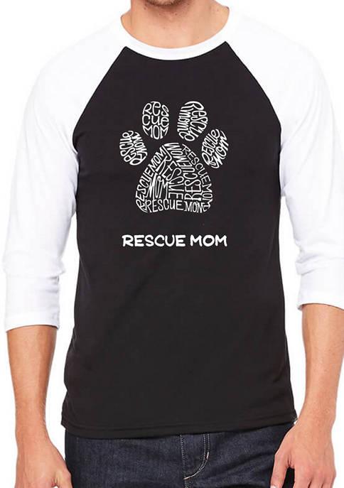 Mens Raglan Baseball Word Art Graphic T-Shirt - Rescue Mom
