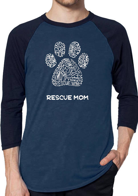 Raglan Baseball Word Art Graphic T-Shirt - Rescue Mom