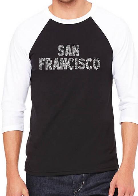 Mens Raglan Baseball Word Art Graphic T-Shirt - San Francisco Neighborhoods