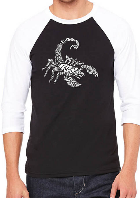 Mens Raglan Baseball Word Art Graphic T-Shirt - Types of Scorpions