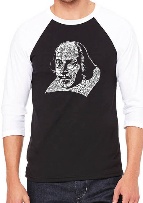 Raglan Baseball Word Art Graphic T-Shirt - The Titles of All of William Shakespeares Comedies and Tragedies
