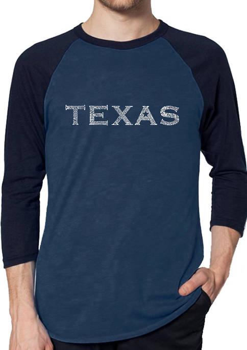Mens Raglan Baseball Word Art Graphic T-Shirt - The Great Cities of Texas