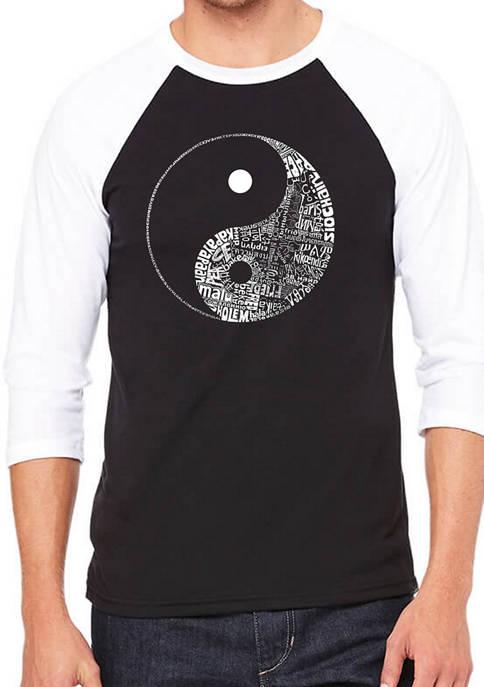 Mens Raglan Baseball Word Art Graphic T-Shirt - Yin Yang