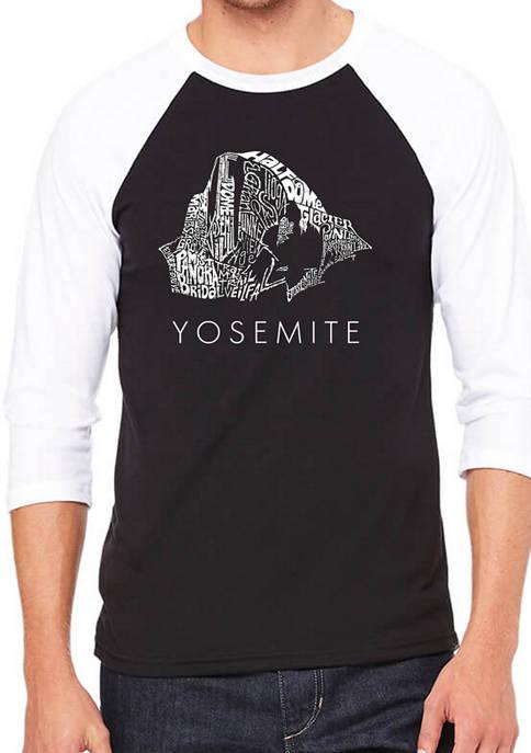 Raglan Baseball Word Art Graphic T-Shirt - Yosemite