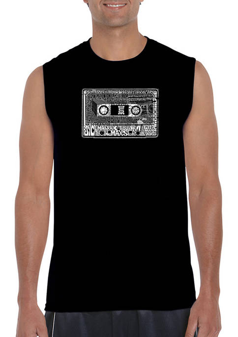 LA Pop Art Mens Word Art Sleeveless Graphic
