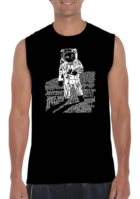LA Pop Art Mens Astronaut Word Art Sleeveless