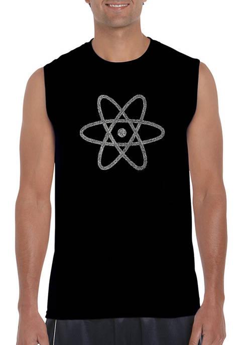 Mens Atom Word Art Sleeveless Graphic T-Shirt
