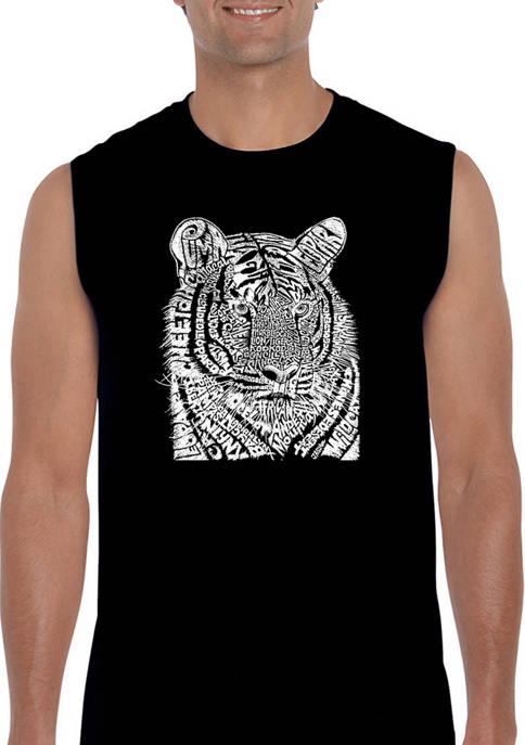 Mens Big Cats Word Art Sleeveless Graphic T-Shirt