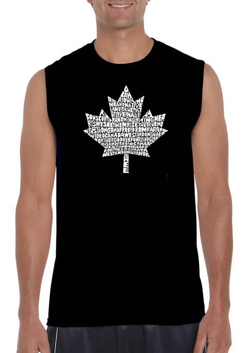 Mens Canadian National Anthem Word Art Sleeveless Graphic T-Shirt