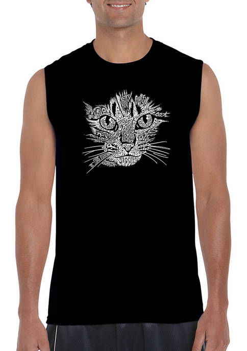 Mens Cat Face Word Art Sleeveless Graphic T-Shirt
