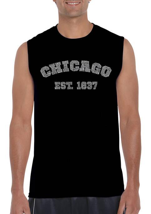 Mens Chicago 1837 Word Art Sleeveless Graphic T-Shirt