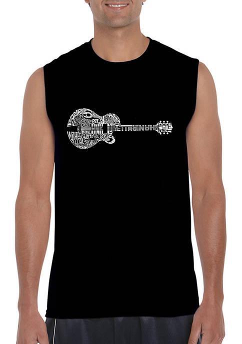 Word Art Sleeveless Graphic T-Shirt - Country Guitar