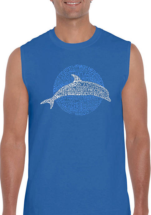 Mens Word Art Sleeveless Graphic T-Shirt - Species of Dolphin