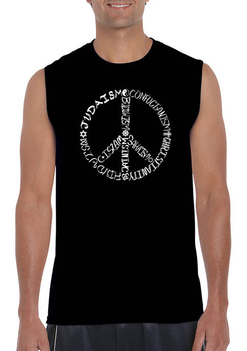 Mens Word Art Sleeveless Graphic T-Shirt - Different Faiths Peace Sign