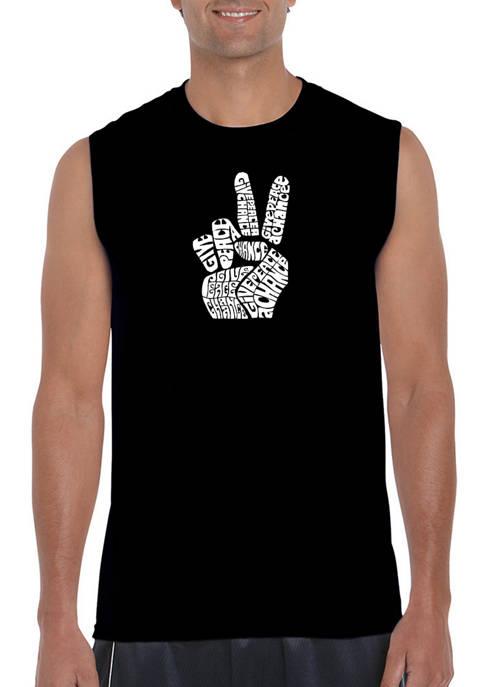 Mens Word Art Sleeveless Graphic T-Shirt - Peace Fingers