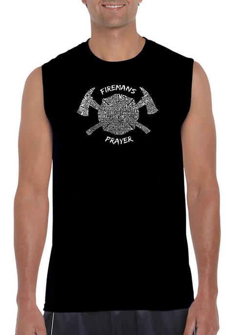 Mens Word Art Sleeveless Graphic T-Shirt - Firemans Prayer