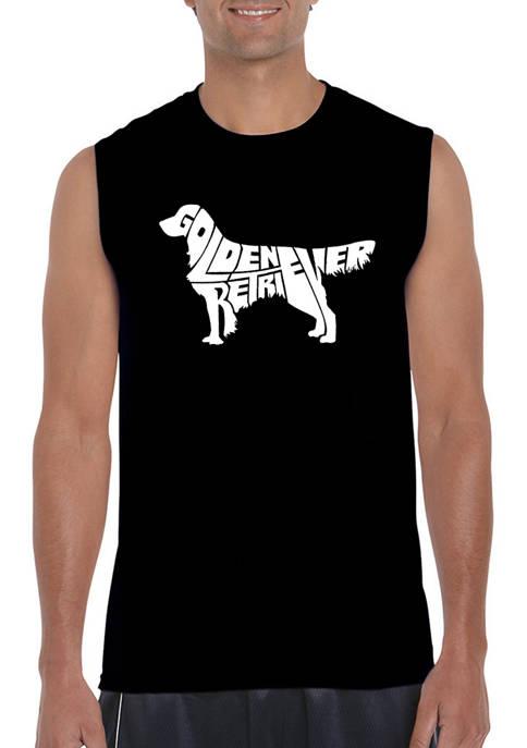 Mens Word Art Sleeveless Graphic T-Shirt - Golden Retriever