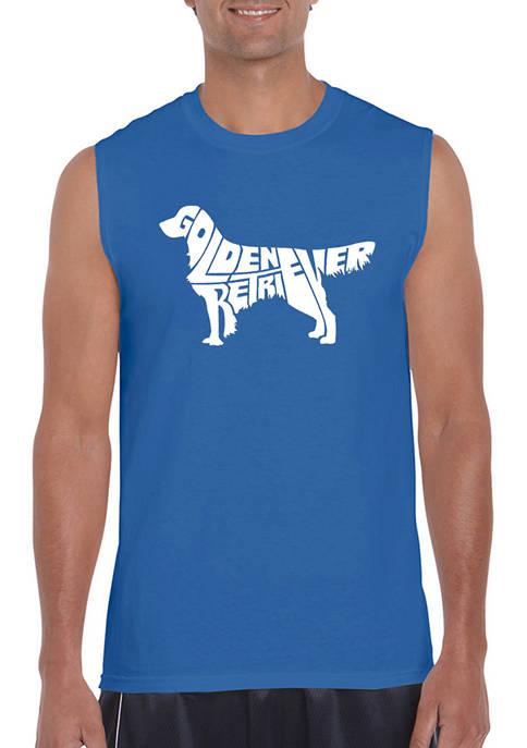 Word Art Sleeveless Graphic T-Shirt - Golden Retriever