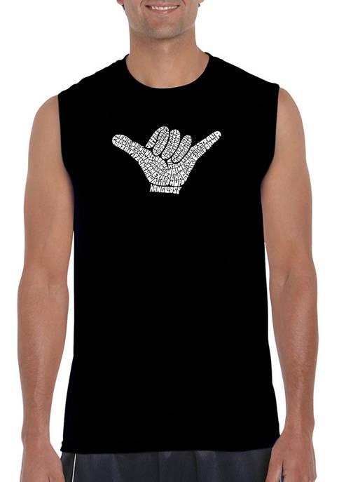 Mens Word Art Sleeveless Graphic T-Shirt - Top Worldwide Surfing Spots