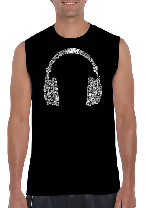 Mens Word Art Sleeveless Graphic T-Shirt - 63 Different Genres of Music