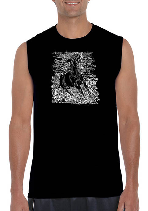Mens Word Art Sleeveless Graphic T-Shirt - Popular Horse Breeds