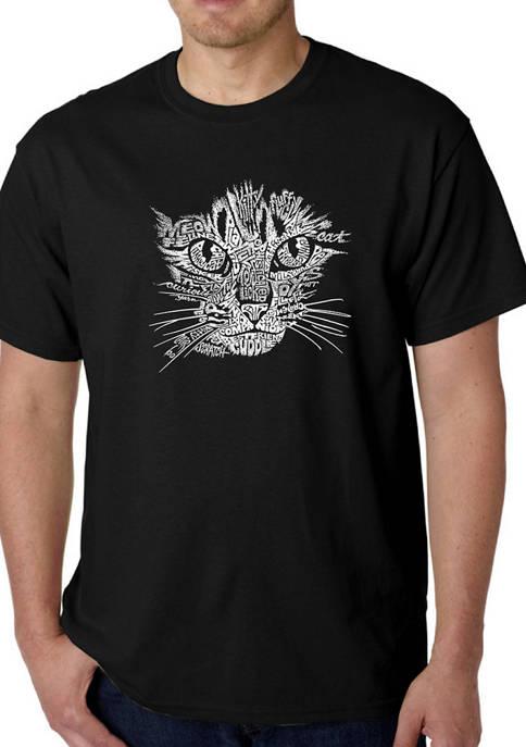Mens Word Art Graphic T-Shirt - Cat Face