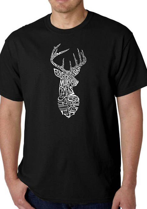 Mens Word Art Graphic T-Shirt - Types of Deer