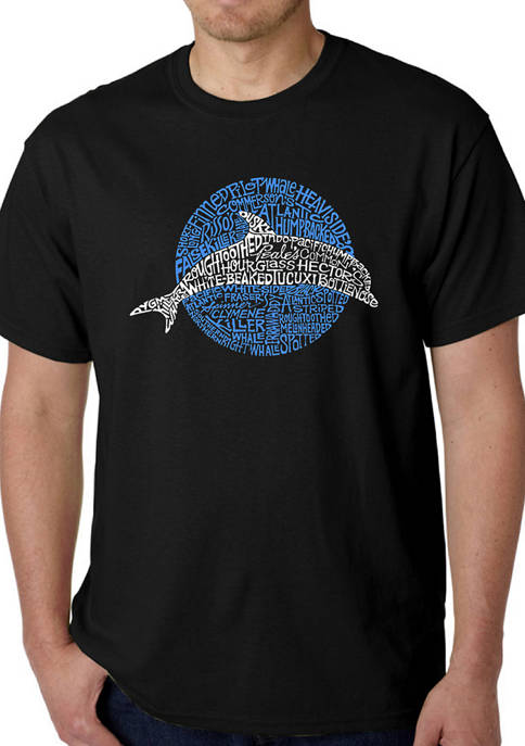 Mens Word Art Graphic T-Shirt - Species of Dolphin