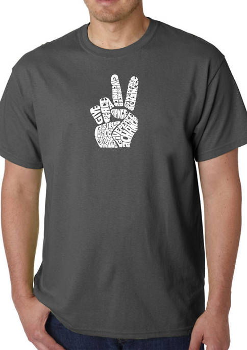 Word Art Graphic T-Shirt - Peace Fingers