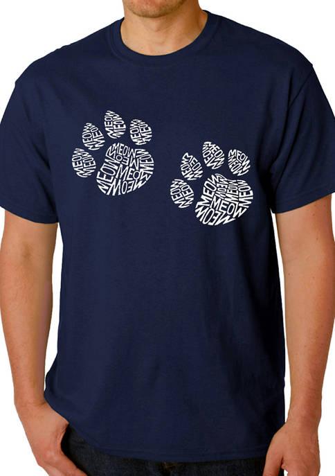 Mens Word Art Graphic T-Shirt - Meow Cat Prints