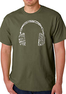 LA Pop Art Word Art T Shirt - Headphones - Languages