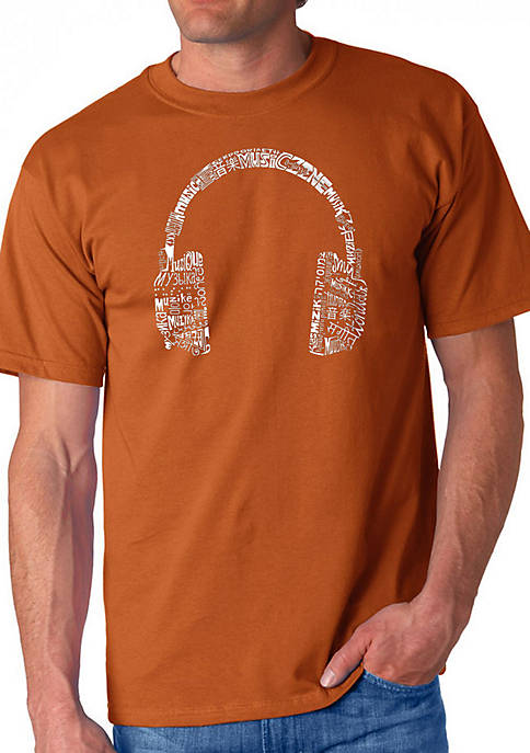 Word Art Graphic T-Shirt - Headphones - Languages