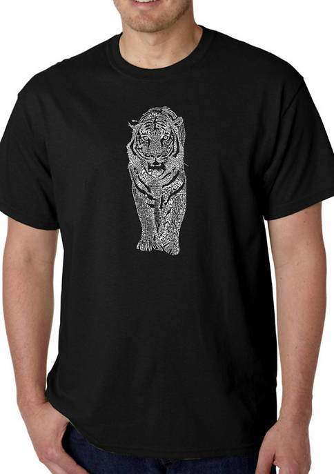 Mens Word Art Graphic T-Shirt - Tiger