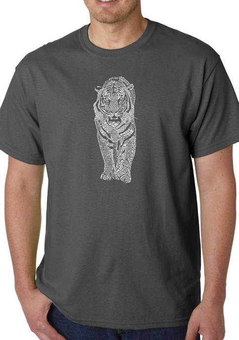 Mens Word Art Graphic T-Shirt - Tiger
