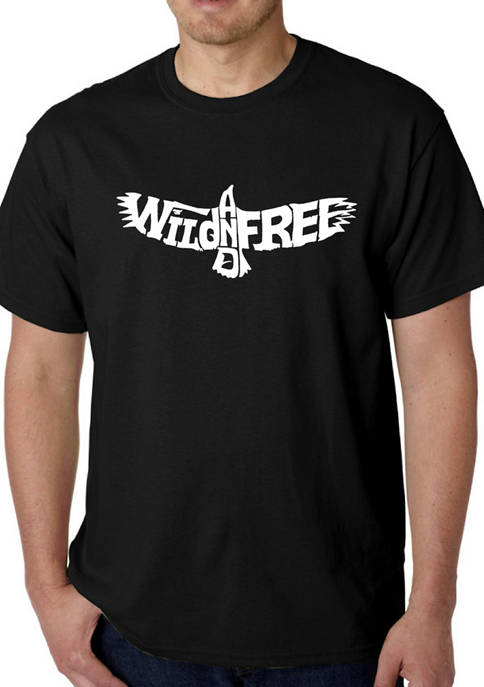 Mens Word Art Graphic T-Shirt - Wild and Free Eagle