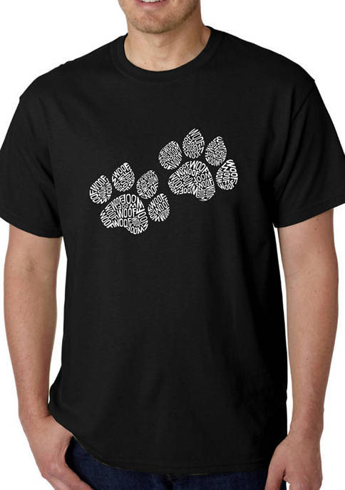 Mens Word Art Graphic T-Shirt - Woof Paw Prints