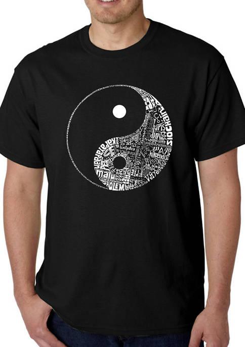 Mens Word Art Graphic T-Shirt - Yin Yang